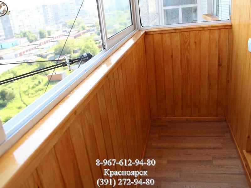 Отделка и утепление балкона вагонкой