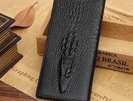 Рязань: Мужское портмоне из натуральной кожи Wild Alligator Новинка 2016 года. Стильное мужское портмоне ручной работы с 3d тиснением. Телефон, деньги, кредит
