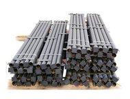 Октябрьский: Столбы металлические Столбы грунтованные черные (коричневые) с крючками для сетки/планкой для профнастила. Диаметром от 32мм до 76мм круглые и профиль