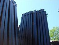 Столбы металлические Столбы грунтованные черные (коричневые) с крючками для сетки/планкой для профнастила. Диаметром от 32мм до 76мм круглые и профиль, Октябрьский - Строительные материалы