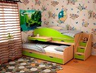 Детская кровать Караван 5-1 Идеальный вариант, если у Вас 2-е детей и мало места в квартире. В комплект входят: 2 кровати (одна из них выдвижная), выд, Барнаул - Детская мебель