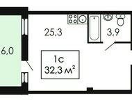 Новая однокомнатная квартира Новая однокомнатная квартира-студия 32, 3 кв. м в Екатеринбурге. Большая остекленная лоджия. Безопасная детская площадка , Нефтеюганск - Продажа квартир