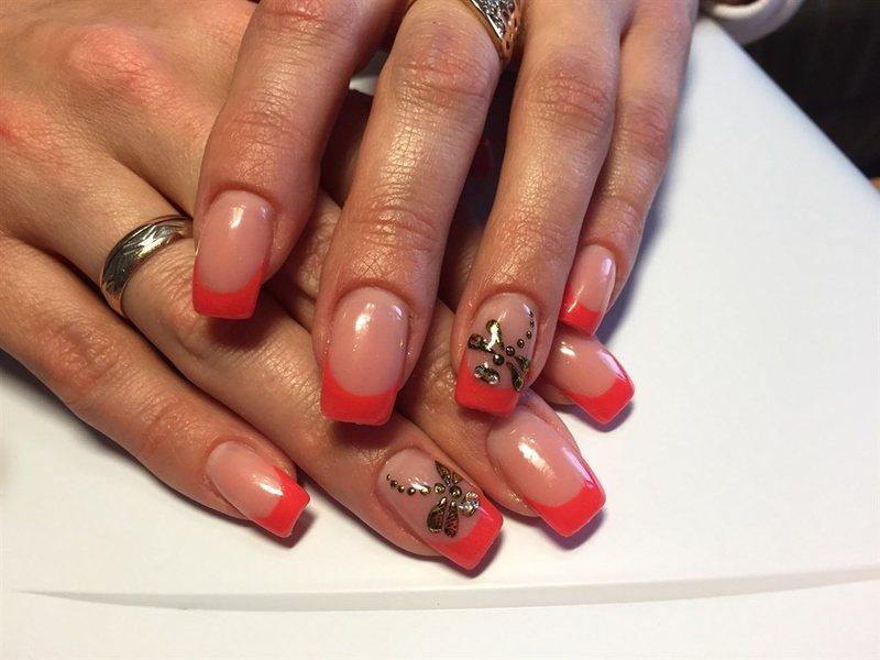 Акриловых ногтей френч цветной