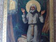 Икона Серафим Саровский молящийся на камне Предлагаю икону с сюжетом Серафим Саровский молящийся на камне в лесу. К исключительным, уникальным произве, Самара - Антиквариат